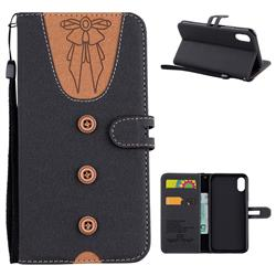Ladies Bow Clothes Pattern Leather Wallet Phone Case for iPhone XS / X / 10 (5.8 inch) - Black