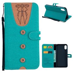 Ladies Bow Clothes Pattern Leather Wallet Phone Case for iPhone XS / X / 10 (5.8 inch) - Green