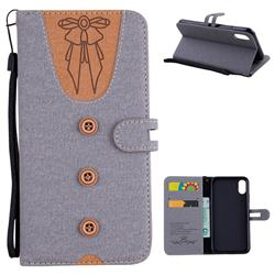 Ladies Bow Clothes Pattern Leather Wallet Phone Case for iPhone XS / X / 10 (5.8 inch) - Gray