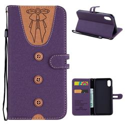 Ladies Bow Clothes Pattern Leather Wallet Phone Case for iPhone XS / X / 10 (5.8 inch) - Purple