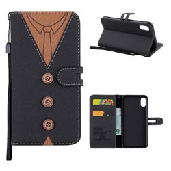 Mens Button Clothing Style Leather Wallet Phone Case for iPhone XS / X / 10 (5.8 inch) - Black