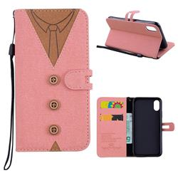 Mens Button Clothing Style Leather Wallet Phone Case for iPhone XS / X / 10 (5.8 inch) - Pink