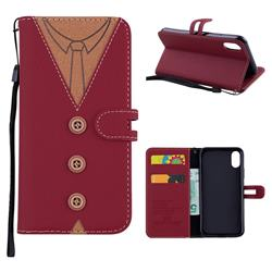 Mens Button Clothing Style Leather Wallet Phone Case for iPhone XS / X / 10 (5.8 inch) - Red