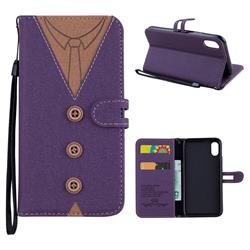 Mens Button Clothing Style Leather Wallet Phone Case for iPhone XS / X / 10 (5.8 inch) - Purple