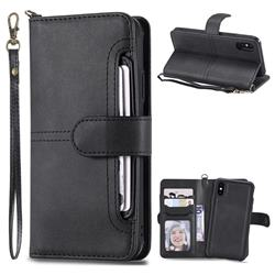 Retro Multi-functional Detachable Leather Wallet Phone Case for iPhone XS / X / 10 (5.8 inch) - Black