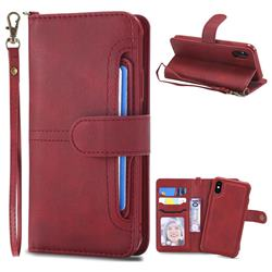 Retro Multi-functional Detachable Leather Wallet Phone Case for iPhone XS / X / 10 (5.8 inch) - Red