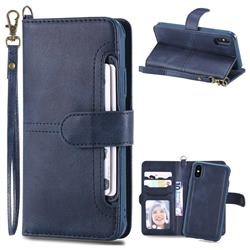 Retro Multi-functional Detachable Leather Wallet Phone Case for iPhone XS / X / 10 (5.8 inch) - Blue