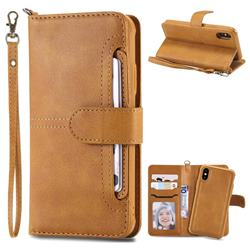 Retro Multi-functional Detachable Leather Wallet Phone Case for iPhone XS / X / 10 (5.8 inch) - Brown
