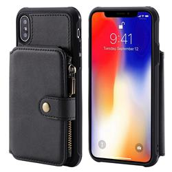 Retro Luxury Multifunction Zipper Leather Phone Back Cover for iPhone XS / X / 10 (5.8 inch) - Black