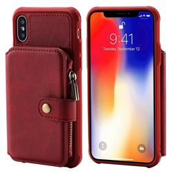 Retro Luxury Multifunction Zipper Leather Phone Back Cover for iPhone XS / X / 10 (5.8 inch) - Red