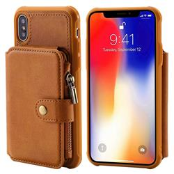 Retro Luxury Multifunction Zipper Leather Phone Back Cover for iPhone XS / X / 10 (5.8 inch) - Brown