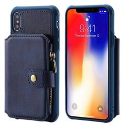 Retro Luxury Multifunction Zipper Leather Phone Back Cover for iPhone XS / X / 10 (5.8 inch) - Blue