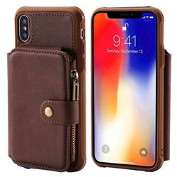 Retro Luxury Multifunction Zipper Leather Phone Back Cover for iPhone XS / X / 10 (5.8 inch) - Coffee