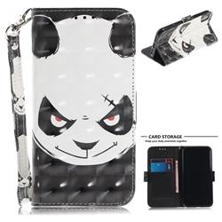 Angry Bear 3D Painted Leather Wallet Phone Case for iPhone XS / X / 10 (5.8 inch)