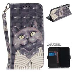 Cat Embrace 3D Painted Leather Wallet Phone Case for iPhone XS / X / 10 (5.8 inch)