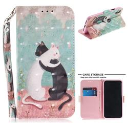 Black and White Cat 3D Painted Leather Wallet Phone Case for iPhone XS / X / 10 (5.8 inch)