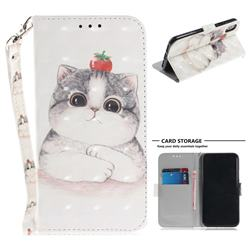Cute Tomato Cat 3D Painted Leather Wallet Phone Case for iPhone XS / X / 10 (5.8 inch)
