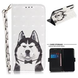 Husky Dog 3D Painted Leather Wallet Phone Case for iPhone XS / X / 10 (5.8 inch)