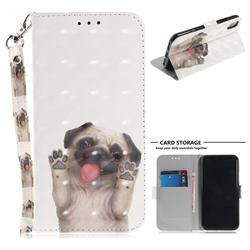 Pug Dog 3D Painted Leather Wallet Phone Case for iPhone XS / X / 10 (5.8 inch)