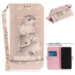 Three Squirrels 3D Painted Leather Wallet Phone Case for iPhone XS / X / 10 (5.8 inch)