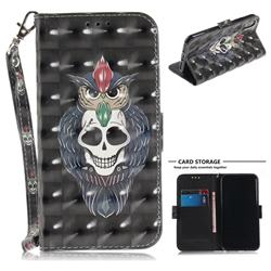 Skull Cat 3D Painted Leather Wallet Phone Case for iPhone XS / X / 10 (5.8 inch)