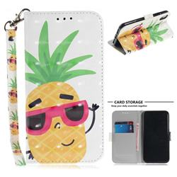 Pineapple Glasses 3D Painted Leather Wallet Phone Case for iPhone XS / X / 10 (5.8 inch)