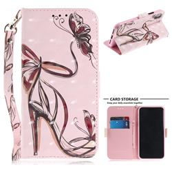 Butterfly High Heels 3D Painted Leather Wallet Phone Case for iPhone XS / X / 10 (5.8 inch)