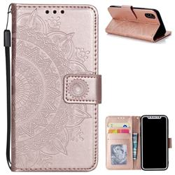 Intricate Embossing Datura Leather Wallet Case for iPhone XS / X / 10 (5.8 inch) - Rose Gold
