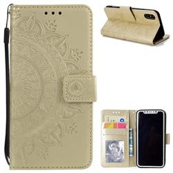 Intricate Embossing Datura Leather Wallet Case for iPhone XS / X / 10 (5.8 inch) - Golden