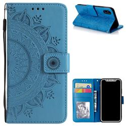Intricate Embossing Datura Leather Wallet Case for iPhone XS / X / 10 (5.8 inch) - Blue
