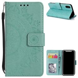 Intricate Embossing Datura Leather Wallet Case for iPhone XS / X / 10 (5.8 inch) - Mint Green