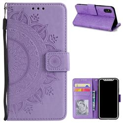 Intricate Embossing Datura Leather Wallet Case for iPhone XS / X / 10 (5.8 inch) - Purple