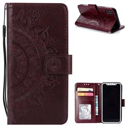 Intricate Embossing Datura Leather Wallet Case for iPhone XS / X / 10 (5.8 inch) - Brown