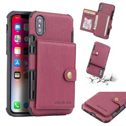 Brush Multi-function Leather Phone Case for iPhone XS / X / 10 (5.8 inch) - Wine Red