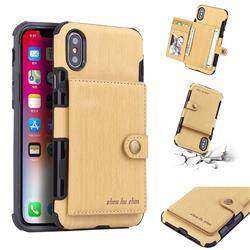 Brush Multi-function Leather Phone Case for iPhone XS / X / 10 (5.8 inch) - Golden