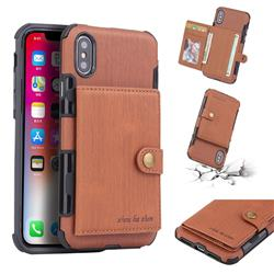 Brush Multi-function Leather Phone Case for iPhone XS / X / 10 (5.8 inch) - Brown