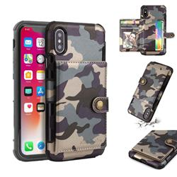 Camouflage Multi-function Leather Phone Case for iPhone XS / X / 10 (5.8 inch) - Gray