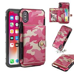 Camouflage Multi-function Leather Phone Case for iPhone XS / X / 10 (5.8 inch) - Rose