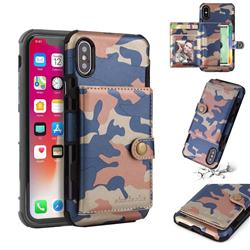 Camouflage Multi-function Leather Phone Case for iPhone XS / X / 10 (5.8 inch) - Blue
