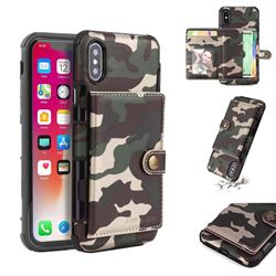 Camouflage Multi-function Leather Phone Case for iPhone XS / X / 10 (5.8 inch) - Army Green