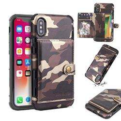 Camouflage Multi-function Leather Phone Case for iPhone XS / X / 10 (5.8 inch) - Coffee