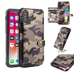 Camouflage Multi-function Leather Phone Case for iPhone XS / X / 10 (5.8 inch) - Purple