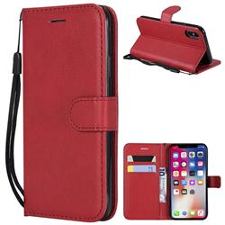Retro Greek Classic Smooth PU Leather Wallet Phone Case for iPhone XS / X / 10 (5.8 inch) - Red