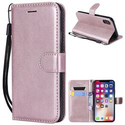 Retro Greek Classic Smooth PU Leather Wallet Phone Case for iPhone XS / X / 10 (5.8 inch) - Rose Gold