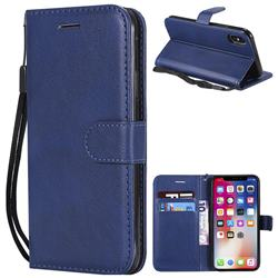 Retro Greek Classic Smooth PU Leather Wallet Phone Case for iPhone XS / X / 10 (5.8 inch) - Blue