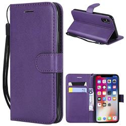 Retro Greek Classic Smooth PU Leather Wallet Phone Case for iPhone XS / X / 10 (5.8 inch) - Purple