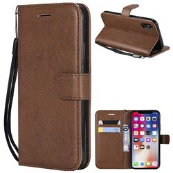 Retro Greek Classic Smooth PU Leather Wallet Phone Case for iPhone XS / X / 10 (5.8 inch) - Brown
