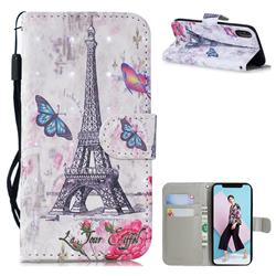 Paris Tower 3D Painted Leather Wallet Phone Case for iPhone XS / iPhone X(5.8 inch)