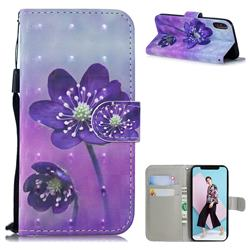 Purple Flower 3D Painted Leather Wallet Phone Case for iPhone XS / iPhone X(5.8 inch)