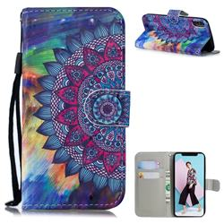 Oil Painting Mandala 3D Painted Leather Wallet Phone Case for iPhone XS / iPhone X(5.8 inch)